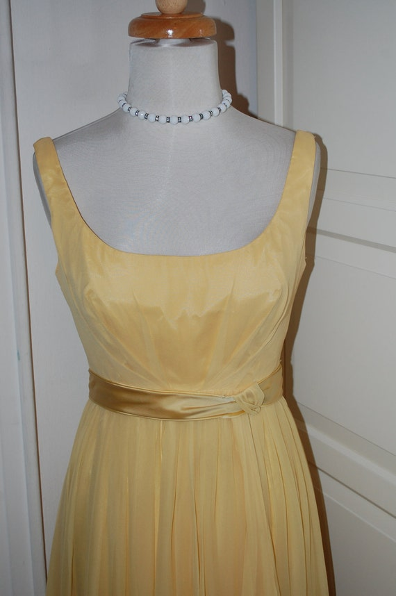 50s 60s Yellow Chiffon Over Taffeta Gown, Wedding, Prom, Size S/XS