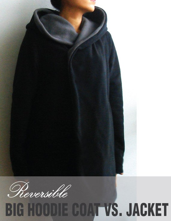 NEW-Ladies Reversible Big Hoodie Coat vs. Jacket - Loose fit, big hood, shawl collar, reversible