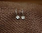 Matte Sterling Silver Lotus Blossom Earrings