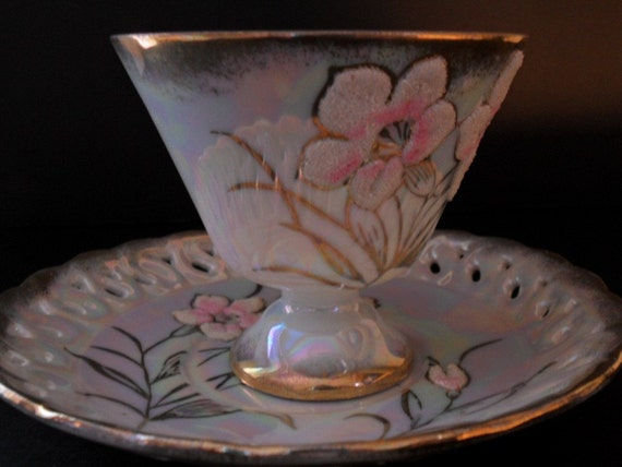 Lusterware Flocked Teacup  Marked Sterling China