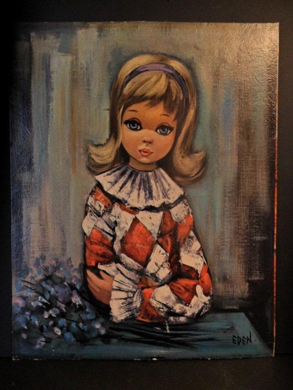 Vintage 1960s HARLEQUIN Eden Big EYED Girl Print