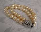 Vintage Pearl Bracelet Beautiful Double Strands with Rhinestone Clasp - Perfect for your wedding or Bridal accessories