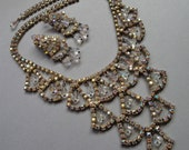 Vintage Bridal Necklace Set in Rhinestone and Crystals a stunning design includes matching Earrings in AB Rhinestones and dangling crystals