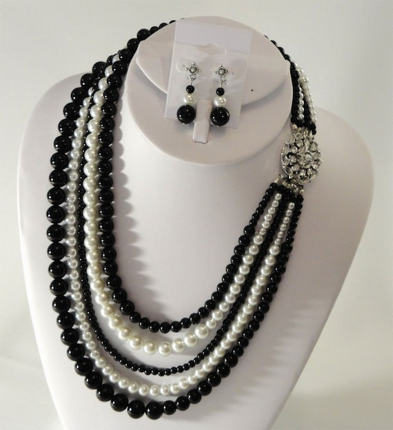 Mother of the Bride Pearl Necklace Earrings Set Black White 5 Multi Strands glass pearls perfect for the Mother of the Bride bridal wedding