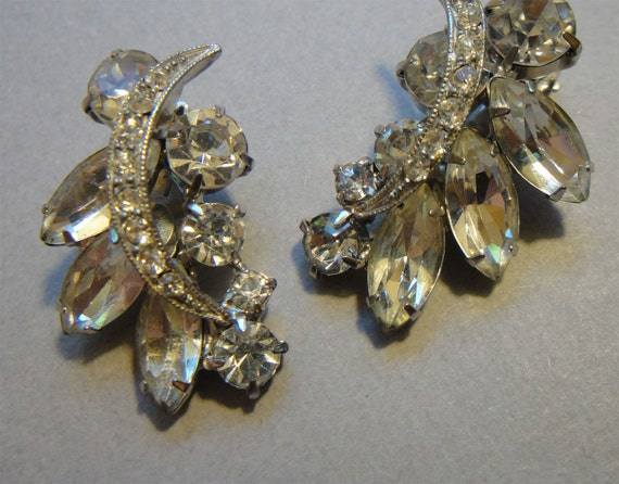Vintage Rhinestone Earrings by Juliana shown with Bogoff necklace makes beautiful bridal earrings for your wedding