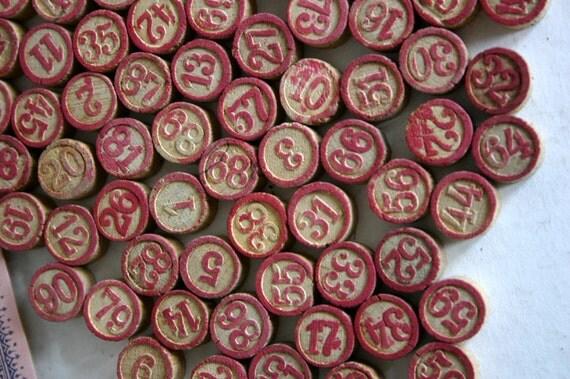 Vintage Wood Number 88 Game Pieces / Vintage Lotto Game