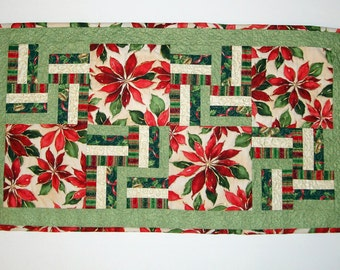 Free Shipping-Handmade Quilted Holiday Season Table Runner Perfect for Christmas Table
