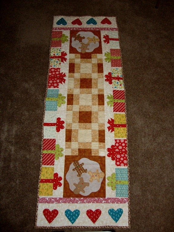 Holiday Handmade Quilted Gingerbread Table Runner Lrg. 74 x 26 For Christmas Decorating one of a kind