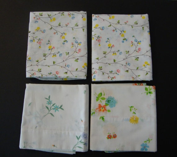 4 Vintage Pillow Cases in Shabby Chic-Cottage Style Fabric-One set and two singles