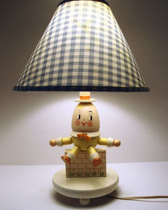 1960's Vintage Yellow Humpty Dumpty Nursery Rhyme Lamp
