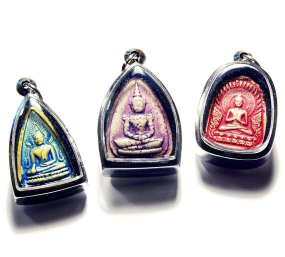 Set of 3 Beautiful Unique Clay Handpainted Buddhist Lucky Spiritual Amulets, Blue Ink, Indian Sari Purple, Lipstick Pink