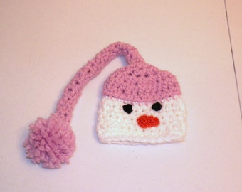 Twins Snowman Hat Cuddle Soft Newborn to 3 months Photography Prop Pink or Custom Colors