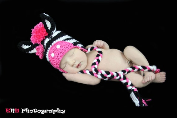 Crocheted Zebra Hat 0 to 3 Months Boy or Girl Custom Colors Photography Prop