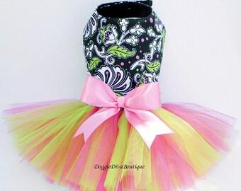 Dog Dress - Dog Tutu Dress - Hot Pink & Green Flowers Medium