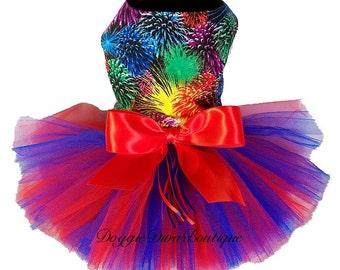 Dog Dress - Tutu Dress - Fireworks - July Red & Blue - XXS, XS, Small or Medium