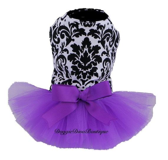 Dog Tutu Dress Damask with Purple XXS, XS or Small