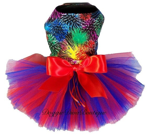 Dog Dress - Tutu Dress - Fireworks - July Red & Blue - XXS, XS, Small or Medium