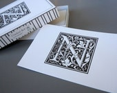 Boxed Set Monogram Cards - Black on White