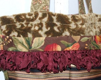 Handmade Purse or Tote with rayon trim
