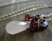 Pink Rose Quartz Necklace, January Birthstone Necklace, Silver Necklace, Candy Red Garnet Rose Quartz Cluster Necklace