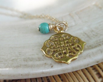 MOTHERS DAY SALE Extra long Gold Necklace Lace Jewelry Filigree Gold Necklace, Teal Necklace, Turquoise Rondell, 14K Gold Filled Necklace