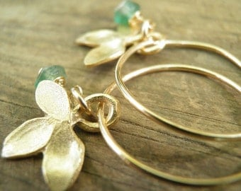 MAY BIRTHSTONE Emerald Spring Green, Genuine Emerald Petal Small Hoops, In Gold, May Birthstone, Romantic Gift For Her