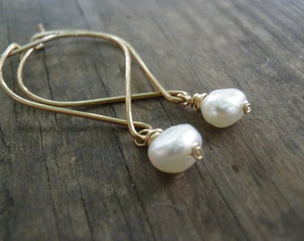 Wedding Earrings, Bridal Pearl Earrings, Gold Simple White Fresh Water Pearls Earrings, Anniversary, Gift For Mom, Gift For Her, SPRING SALE