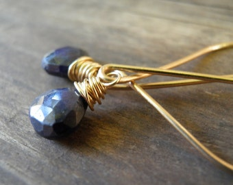 Natural Blue Sapphire Earrings, September Birthstone Jewelry, Rough Finished Sapphire, Small Teardrop Dangle Earrings, Gold Wire Wrapped