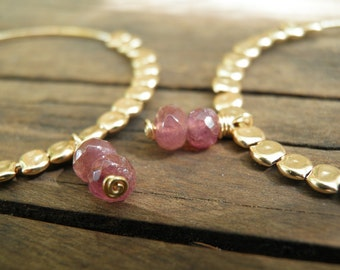 Antique Pink Tourmaline Gold Hoops, Pink Jewelry, Pink Tourmaline Gold Filled Glories  Hoops, October Birthstone, Fall Fashion