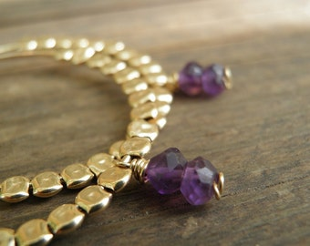 EASTER SALE Purple Gold Hoops Amethyst Earrings, February Birthstone Jewelry, Purple Amethyst Gold Filled Hoop, Gift For Her, Spring Fashion