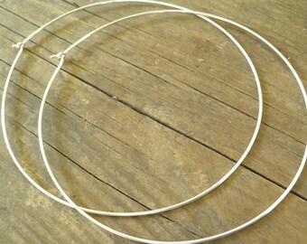 Bohemian Jewelry, Huge XXXXL Silver Hoops, 8 cm / 3.15 inch Earrings, Simple XXXXL Large Earrings, Hand Crafted Sterling Silver Hoops, Sale