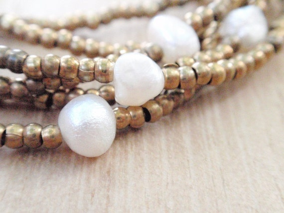 Classic Double-length Pearl and Brass Beads Necklace