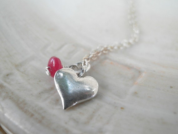 MOTHERS DAY SALE, Heart Pendant, Gift For Her, Tiny Silver Heart, July Birthstone, Ruby Silver Heart Statement Necklace, Sterling Silver