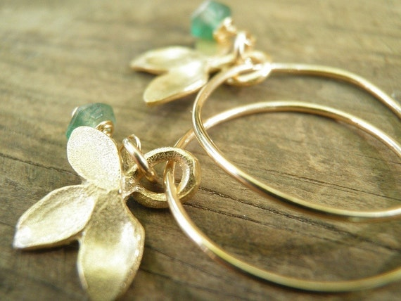 MOTHERS DAY SALE May Birthstone Emerald Spring Green, Genuine Emerald Petal Small Hoops, In Gold, May Birthstone, Romantic Gift For Her