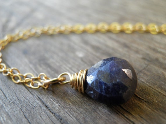 Natural Blue Sapphire Necklace, September Birthstone Jewelry, Rough Finished Sapphire, Small Teardrop Charm Necklace, Gold Wire Wrapped