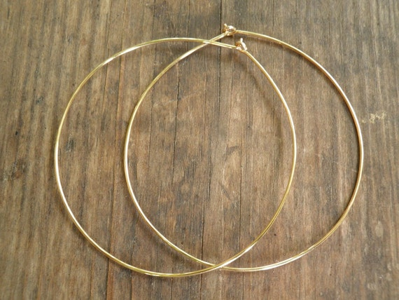 Bohemian Jewelry, Fall Sale, Hoops Earrings Simple Extra Large 5 cm / 2 inch Earrings, Hand Crafted 14k Gold Filled Modern Classic Design