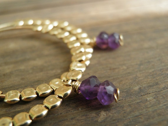 Purple Gold Hoops, Amethyst Jewelry, February Birthstone Earrings Purple Amethyst Gold Filled Hoops, Gift For Her, Winter Fashion