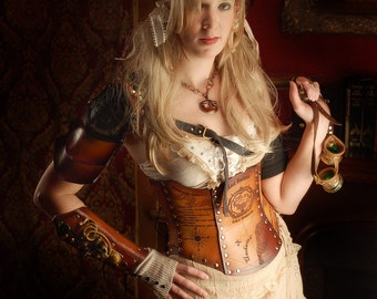 Hard Leather Airship Pirate Map Corset