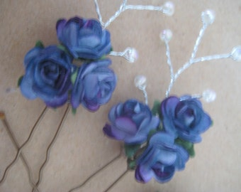 Blue, Purple Hairpins x 4. HANDMADE. Roses with wired beads.