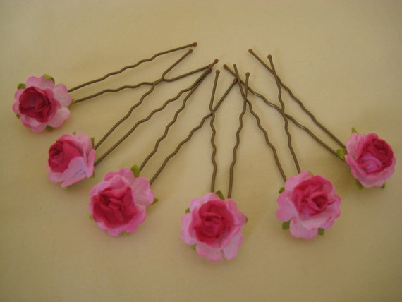 Rose Hairpins x 6. Hot Pink Paper. Bridal, Regency, Victorian.