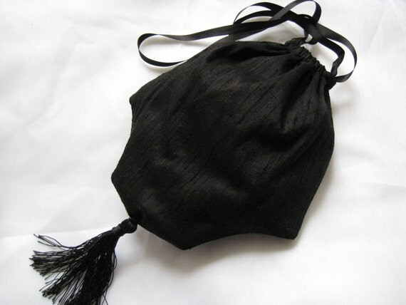 Regency Reticule, Drawstring bag/purse. Black Silk. Victiorian, Edwardian, Steampunk.