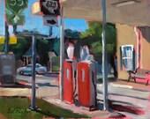 CORNER STATION -- Round Rock, Texas original plein air oil painting