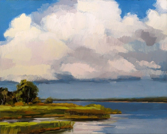 SUMMERVILLE LAKE, TEXAS -- original plein air oil painting