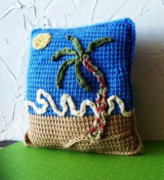 BlueSky Beach  OOAK crocheted pillow