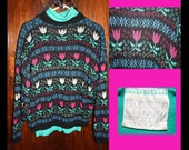Trip to Holland Tulip Sweater, Vintage - Sz M L
