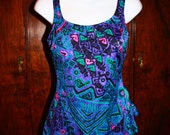 80s- Artsy Aztec Pin up Style Swimsuit