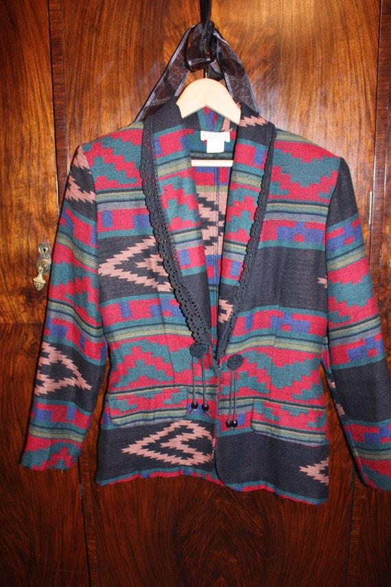 90s- SOUTHWESTERN - Navajo Western Inspired Jacket, Vtg