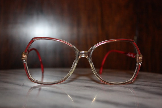 RESERVED-----Treasury item-Vintage Couture Fashion - Rare Red-rimmed GUCCI Glasses