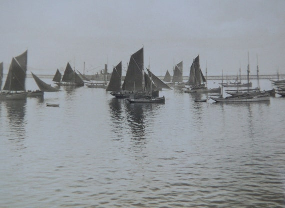 vintage photograph - boats on brixham outer harbour