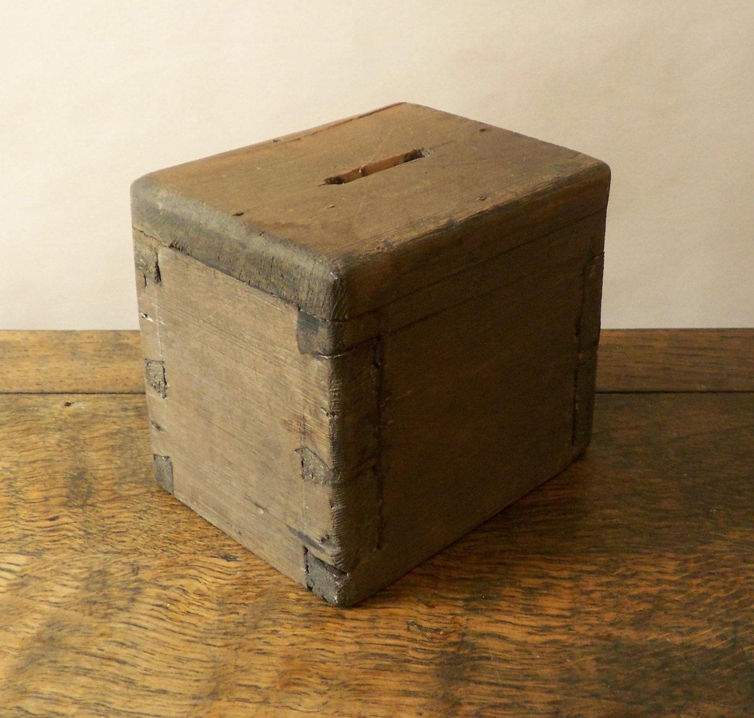 primitive handmade wooden money box